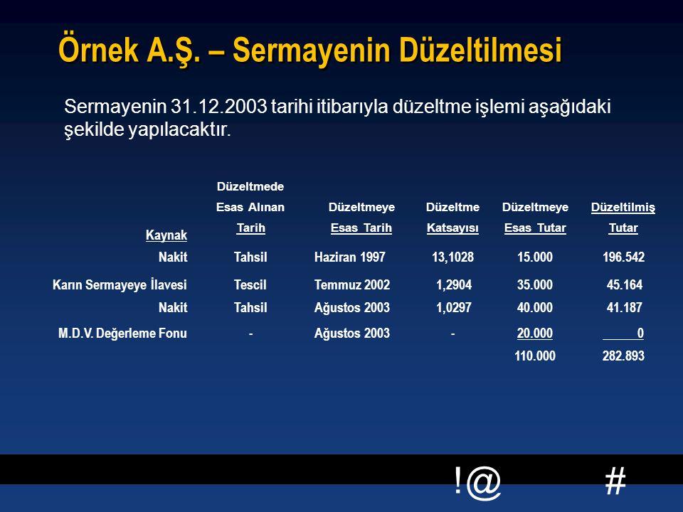 # !@ Örnek A.Ş. – Sermayenin Düzeltilmesi Sermayenin 31.12.2003 tarihi itibarıyla düzeltme işlemi aşağıdaki şekilde yapılacaktır. Kaynak Düzeltmede Es