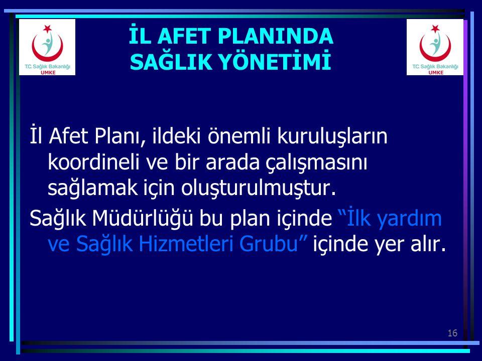16 İL AFET PLANINDA SAĞLIK YÖNETİMİ İl Afet Planı, ildeki önemli kuruluşların koordineli ve bir arada çalışmasını sağlamak için oluşturulmuştur. Sağlı