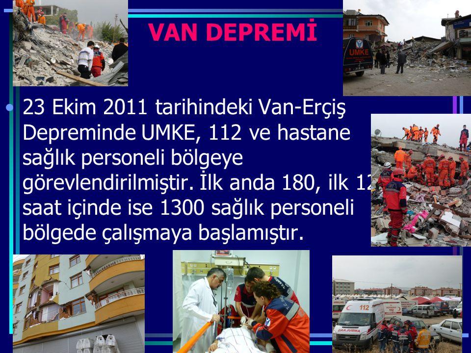 VAN DEPREMİ 23 Ekim 2011 tarihindeki Van-Erçiş Depreminde UMKE, 112 ve hastane sağlık personeli bölgeye görevlendirilmiştir. İlk anda 180, ilk 12 saat