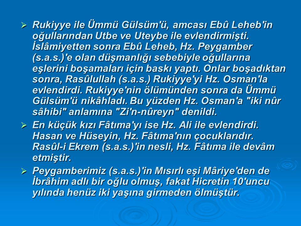  Rukiyye ile Ümmü Gülsüm ü, amcası Ebû Leheb in oğullarından Utbe ve Uteybe ile evlendirmişti.