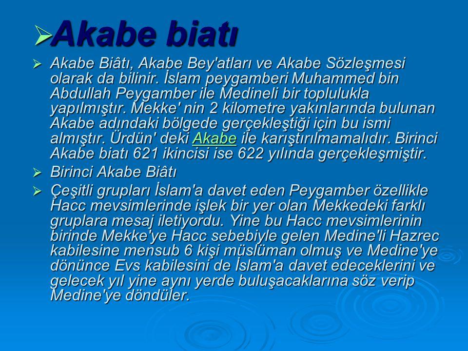  Akabe biatı  Akabe Biâtı, Akabe Bey atları ve Akabe Sözleşmesi olarak da bilinir.