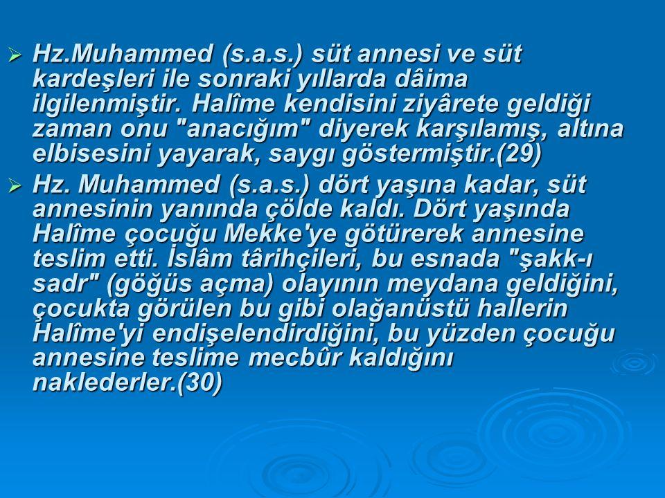  Hz.Muhammed (s.a.s.) süt annesi ve süt kardeşleri ile sonraki yıllarda dâima ilgilenmiştir.