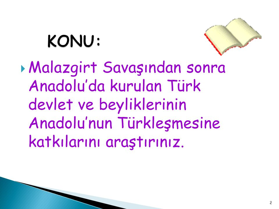 Bu projede sizden Anadolu'da kurulan ilk Türk Devletlerinin ve Beyliklerinin kurulduğu dönemde Anadolu'nun durumu ve bu beyliklerin sosyal, siyasi, ekonomik ve kültürel yapısının Anadolu'nun Türkleşmesine katkıları istenmektedir.
