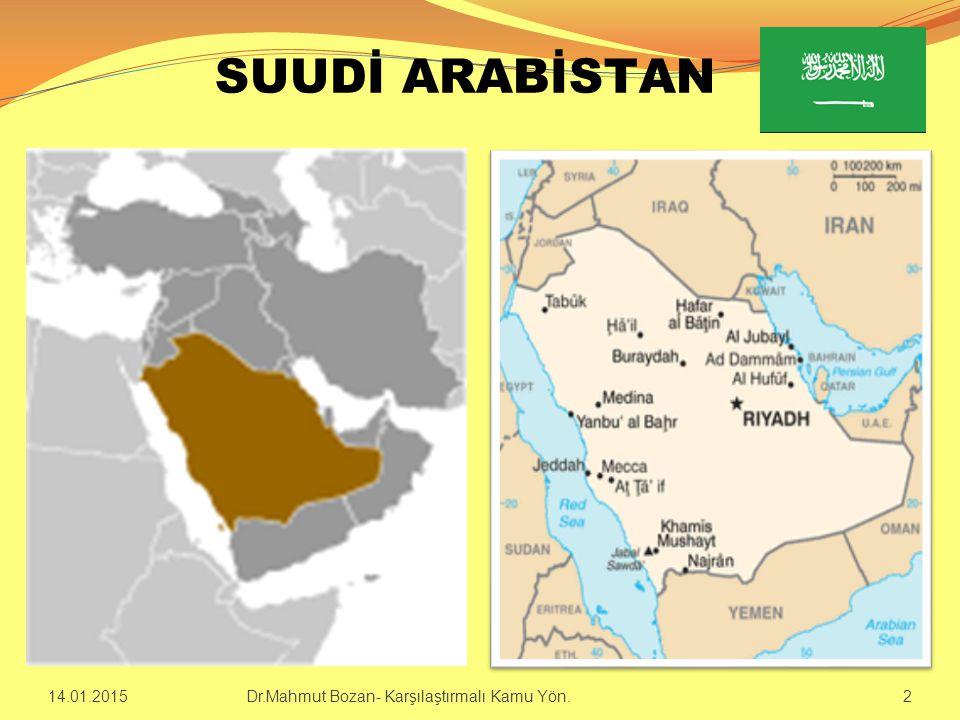ÜLKE BİLGİLERİ  Resmi Adı : Suudi Arabistan Krallığı(1932)  Yönetim Sistemi: Monarşi  İdari Yapı : Üniter  Başkent : Riyad (6.7 m.), Cidde (4.6 m), Mekke (1.7 m.), Medine (1.3 m.)  Resmi Dil : Arapça  Kral : Abdullah Bin Abdulaziz (2005)  Veliahtlar :Sultan bin Abdul Aziz(1), Nayef bin Abdul Aziz (2)  Nüfus : 26,534,504 (2012)  Demografik yapı : Arab %90%, Diğer %10  Din : İslam (%100)  Yüzölçümü : 2,149,690 km² (Dünya 13.)  Fert B.