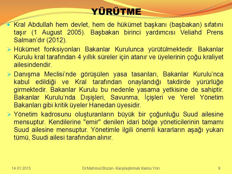 YÜRÜTME Kral Abdullah hem devlet, hem de hükümet başkanı (başbakan) sıfatını taşır (1 August 2005).
