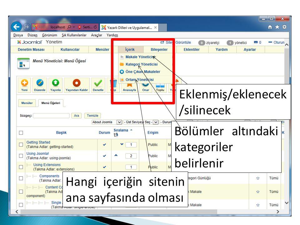 Eklenmiş/eklenecek /silinecek Bölümler altındaki kategoriler belirlenir Hangi içeriğin sitenin ana sayfasında olması