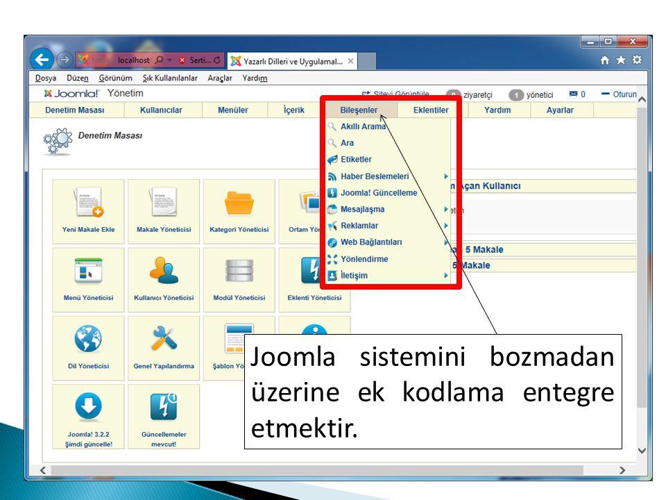 Joomla sistemini bozmadan üzerine ek kodlama entegre etmektir.