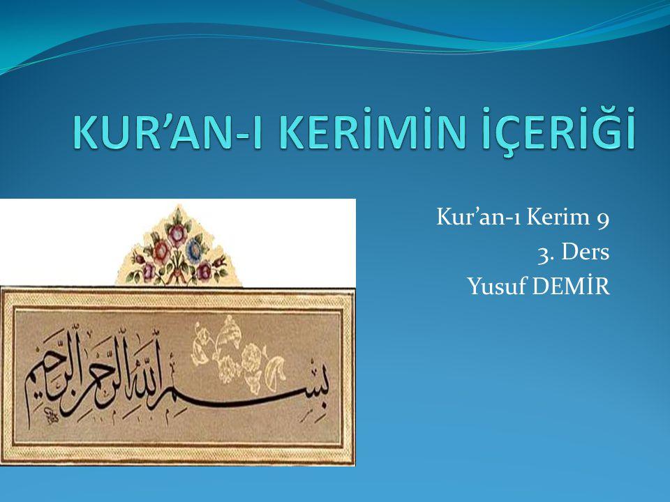 Kur'an-ı Kerim 9 3. Ders Yusuf DEMİR
