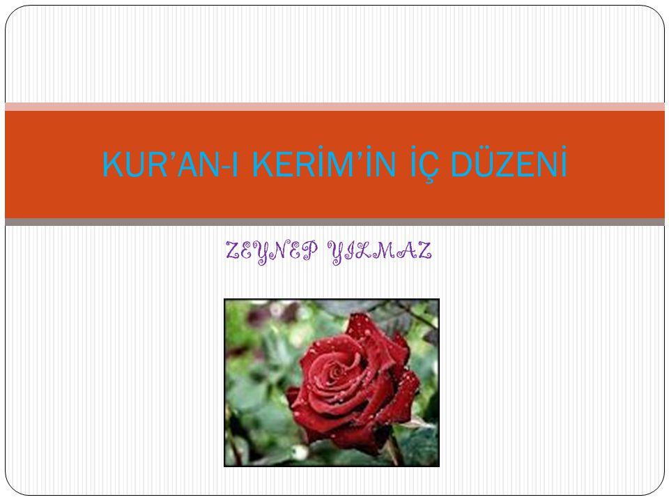 Kur an-ı Kerim in İç Düzeni Kur an-ı Kerim: Allah ın Hz.