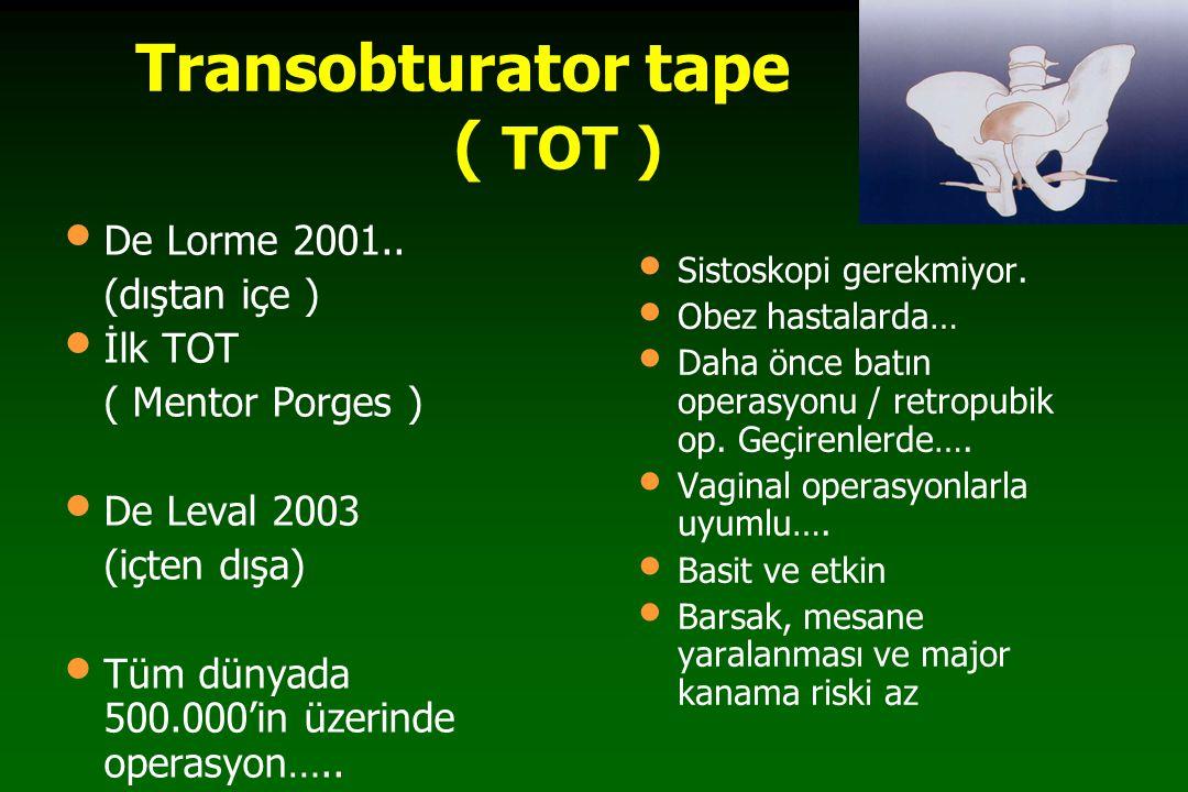 TOT & Normal PU Ligament TVT'nin sebep olduğu obstrüksiyon ve kanama, TOT'un anatomik spesifitesi ile önlenebilir.