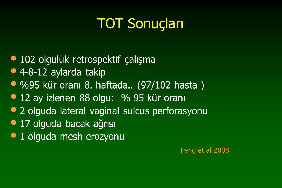 TVT vs TOT 2009 Cochrane Metaanaliz 24 RCT TVT vs TOT/ TVT-O