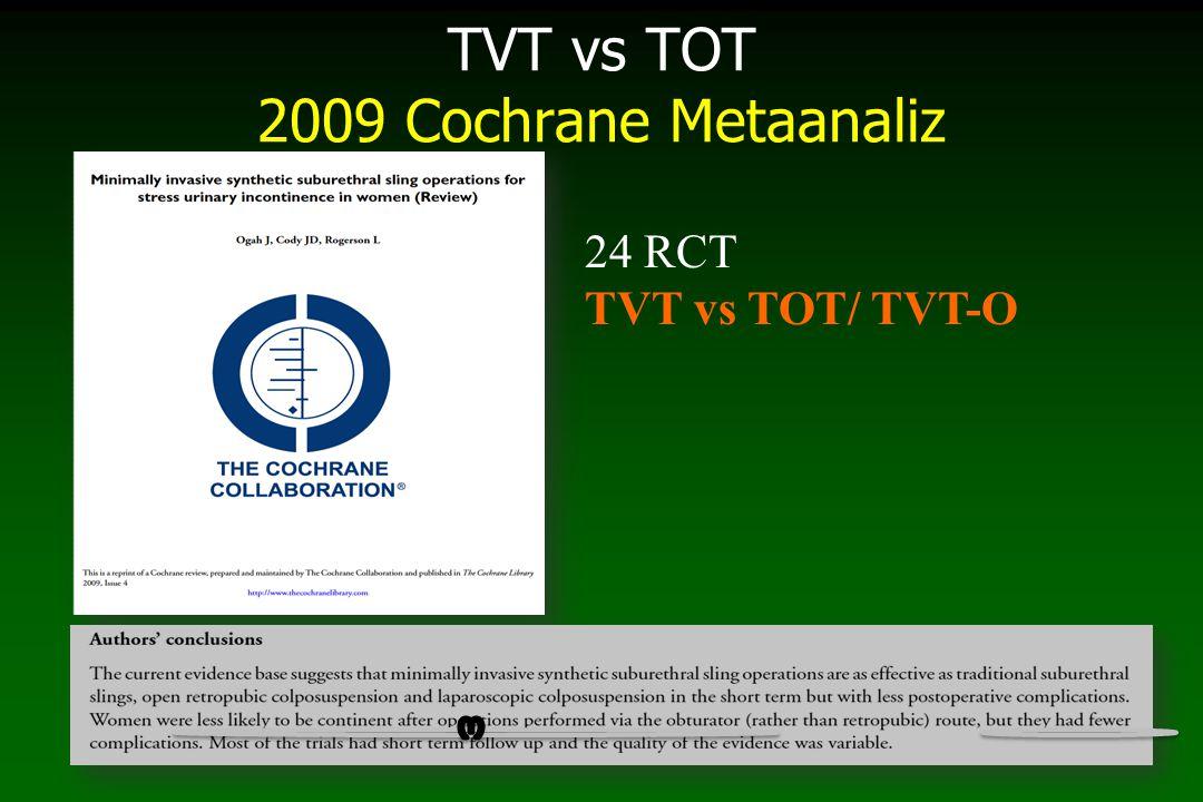 TVT vs TOT/TVT-O Metananaliz 2010 Benzer subjektif başarı, erozyon, ÜYE, kateterizasyon, re-operasyon TVT: daha fazla objektif başarı vs TVT-O, mesane yaralanması, hematom, üriner disfonksiyon (anlamlı değil)) TVT-O: bacak ağrısı, TOT'a göre daha az % vaginal travma..