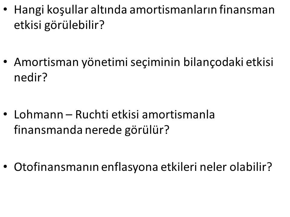 Hangi koşullar altında amortismanların finansman etkisi görülebilir? Amortisman yönetimi seçiminin bilançodaki etkisi nedir? Lohmann – Ruchti etkisi a