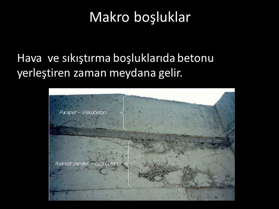 Makro boşluklar Hava ve sıkıştırma boşluklarıda betonu yerleştiren zaman meydana gelir.