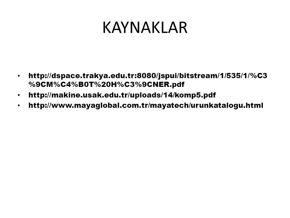 KAYNAKLAR http://dspace.trakya.edu.tr:8080/jspui/bitstream/1/535/1/%C3 %9CM%C4%B0T%20H%C3%9CNER.pdf http://makine.usak.edu.tr/uploads/14/komp5.pdf http://www.mayaglobal.com.tr/mayatech/urunkatalogu.html