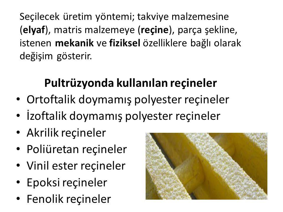Pultrüzyonda kullanılan reçineler Ortoftalik doymamış polyester reçineler İzoftalik doymamış polyester reçineler Akrilik reçineler Poliüretan reçineler Vinil ester reçineler Epoksi reçineler Fenolik reçineler Seçilecek üretim yöntemi; takviye malzemesine (elyaf), matris malzemeye (reçine), parça şekline, istenen mekanik ve fiziksel özelliklere bağlı olarak değişim gösterir.