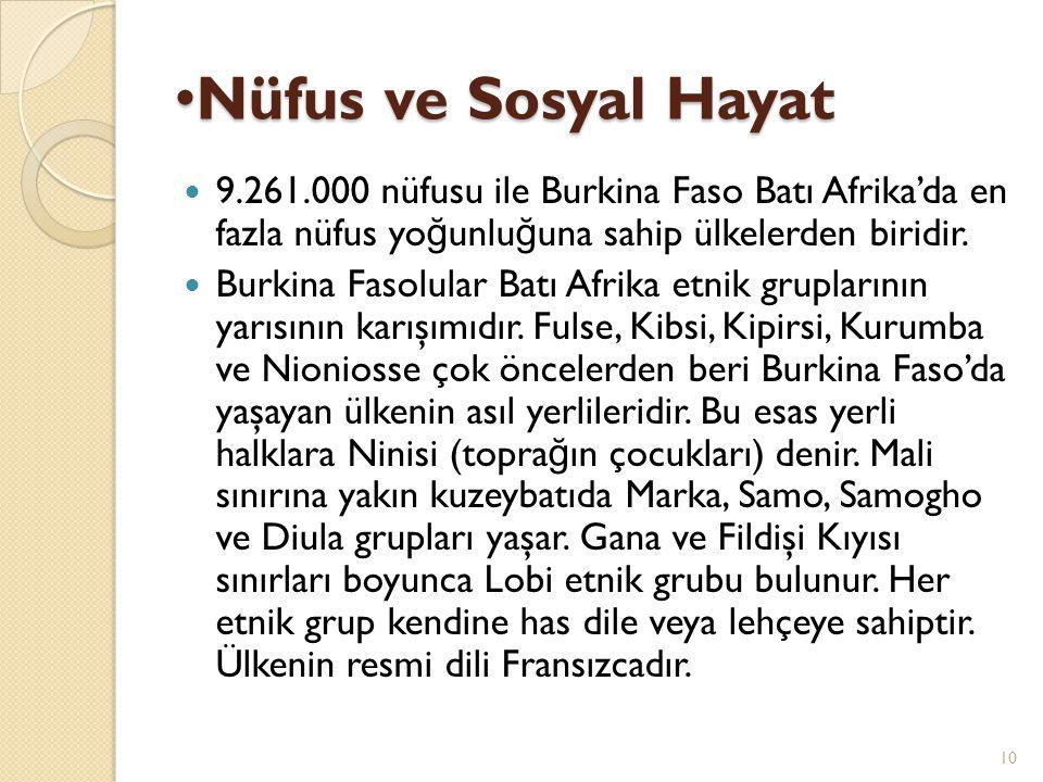 Nüfus ve Sosyal Hayat Nüfus ve Sosyal Hayat 9.261.000 nüfusu ile Burkina Faso Batı Afrika'da en fazla nüfus yo ğ unlu ğ una sahip ülkelerden biridir.