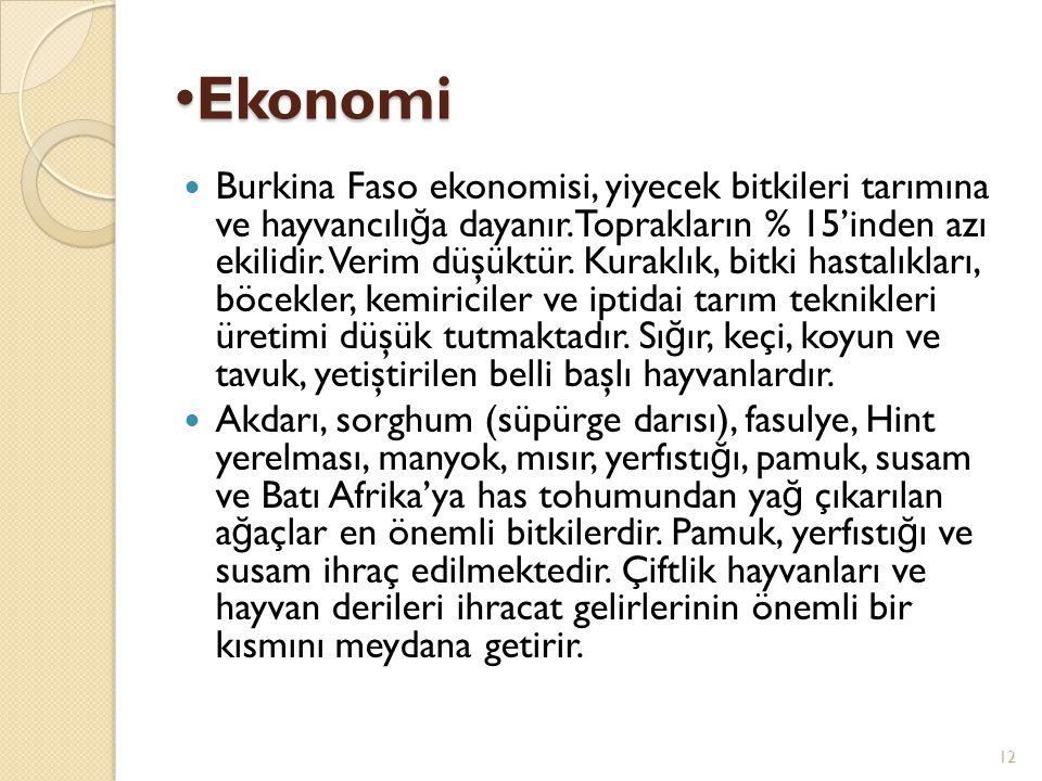 Ekonomi Ekonomi Burkina Faso ekonomisi, yiyecek bitkileri tarımına ve hayvancılı ğ a dayanır.Toprakların % 15'inden azı ekilidir. Verim düşüktür. Kura