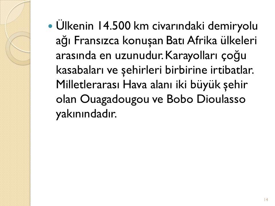 Ülkenin 14.500 km civarındaki demiryolu a ğ ı Fransızca konuşan Batı Afrika ülkeleri arasında en uzunudur. Karayolları ço ğ u kasabaları ve şehirleri