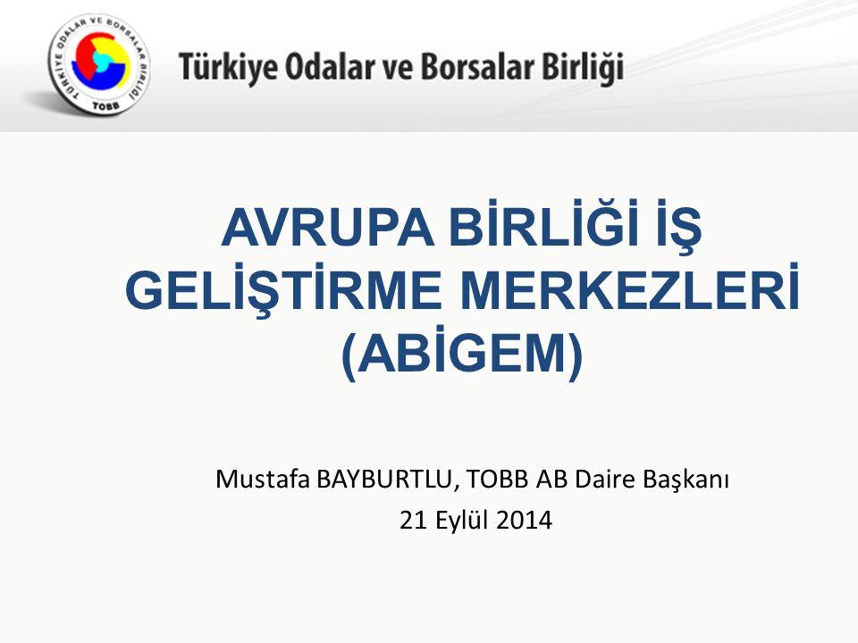 Türkiye Odalar ve Borsalar Birliği AVRUPA BİRLİĞİ İŞ GELİŞTİRME MERKEZLERİ (ABİGEM) Mustafa BAYBURTLU, TOBB AB Daire Başkanı 21 Eylül 2014