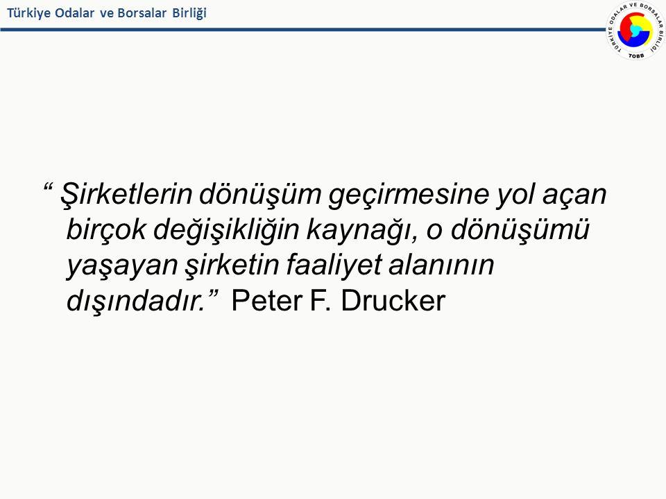 Türkiye Odalar ve Borsalar Birliği Şirketlerin dönüşüm geçirmesine yol açan birçok değişikliğin kaynağı, o dönüşümü yaşayan şirketin faaliyet alanının dışındadır. Peter F.