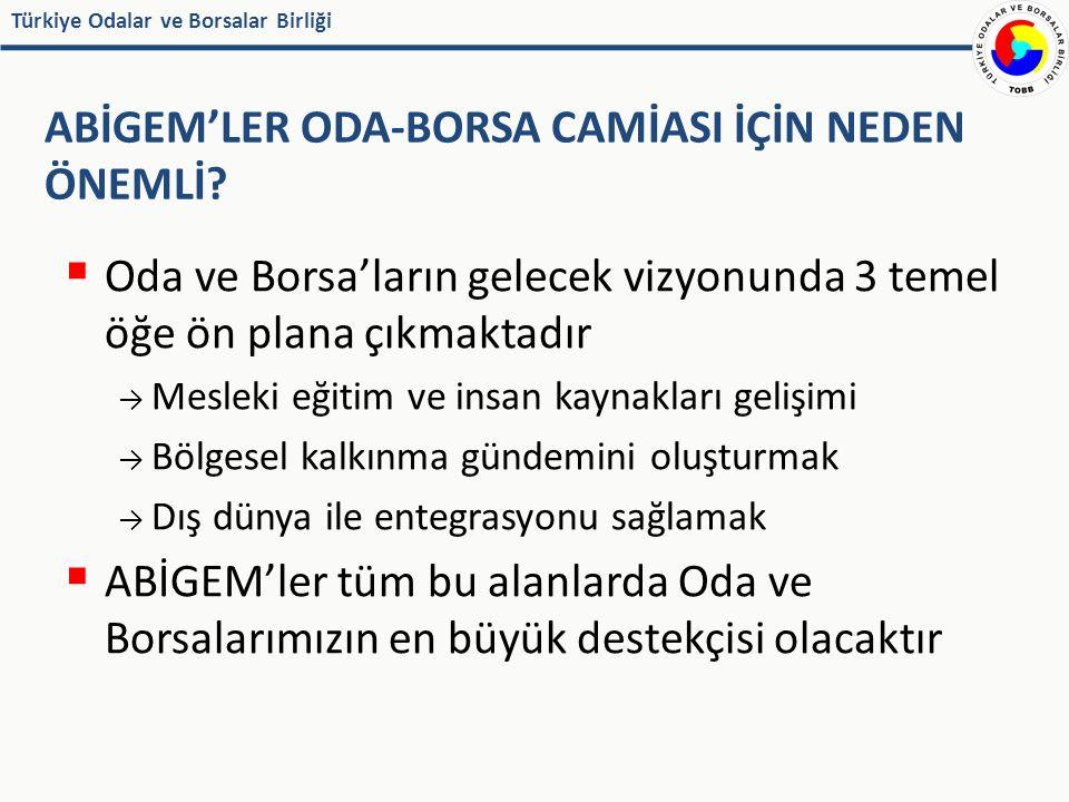 Türkiye Odalar ve Borsalar Birliği TEMSİL DANIŞMANLIK BELGE DÜZENLEME EĞİTİM – BİLGİLENDİRME DIŞ TİCARET-YATIRIM ODA VE BORSALARIN ANA GÖREV ALANLARI VE ABİGEM'LER ABİGEM 10