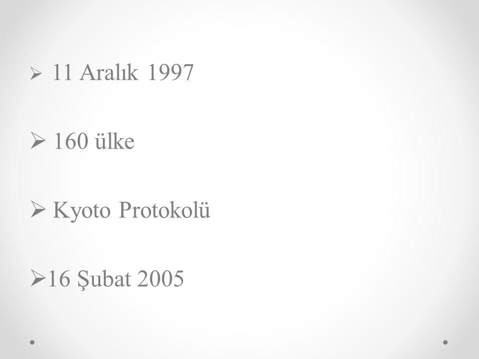  11 Aralık 1997  160 ülke  Kyoto Protokolü  16 Şubat 2005