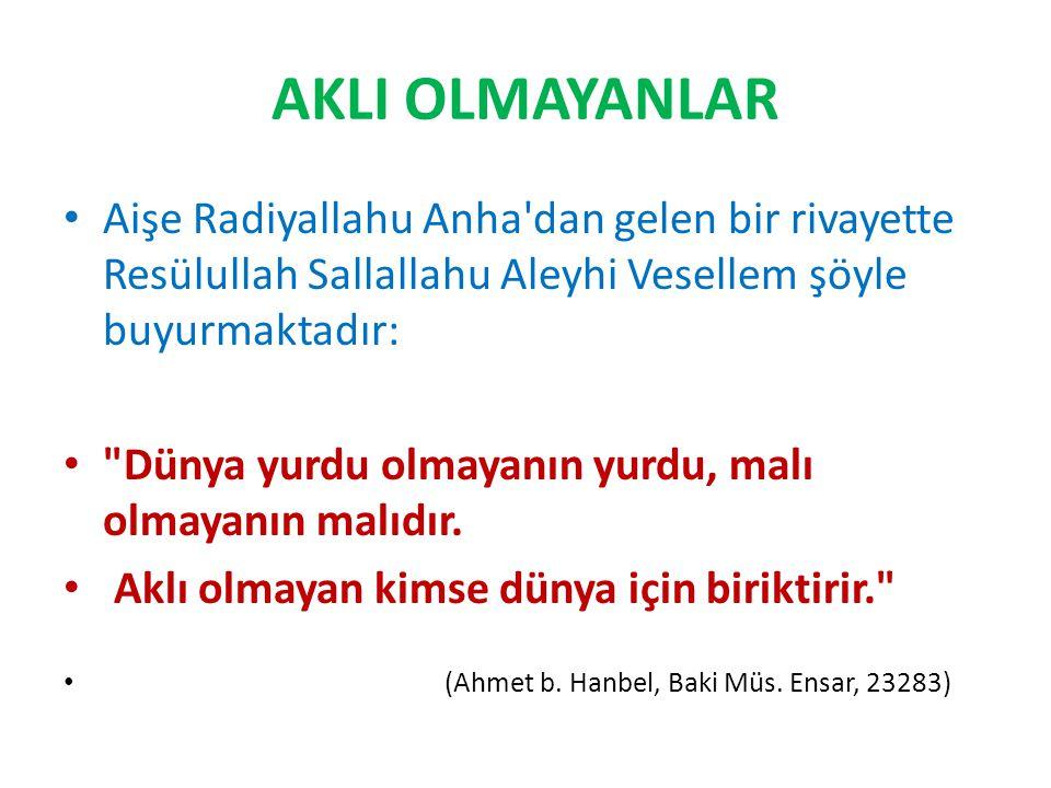 AKLI OLMAYANLAR Aişe Radiyallahu Anha'dan gelen bir rivayette Resülullah Sallallahu Aleyhi Vesellem şöyle buyurmaktadır: