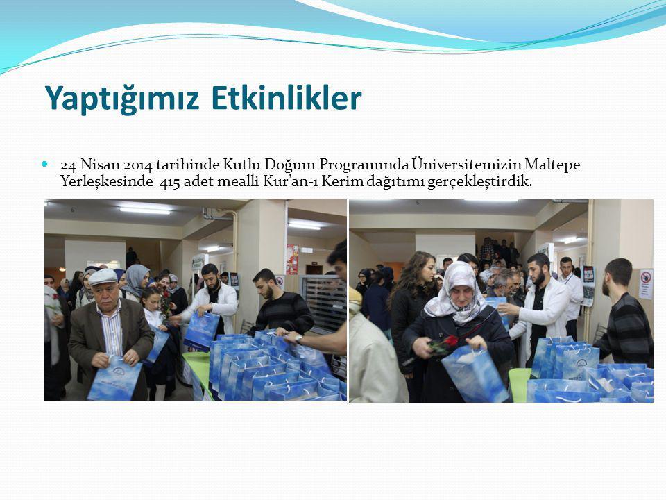 Yaptığımız Etkinlikler 24 Nisan 2014 tarihinde Kutlu Doğum Programında Üniversitemizin Maltepe Yerleşkesinde 415 adet mealli Kur'an-ı Kerim dağıtımı gerçekleştirdik.