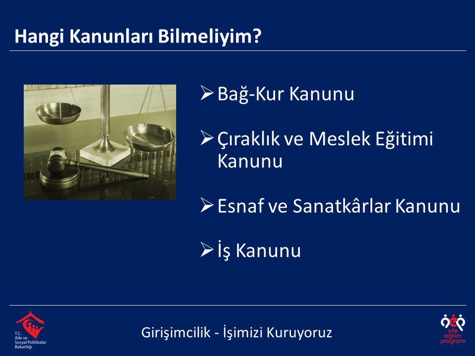 Odalar ve Borsalar Kanunu  Sosyal Sigortalar Kanunu  Türk Ticaret Kanunu  Umumi Hıfzıssıha Kanunu  Vergi Usul Kanunu Girişimcilik - İşimizi Kuruyoruz Hangi Kanunları Bilmeliyim?