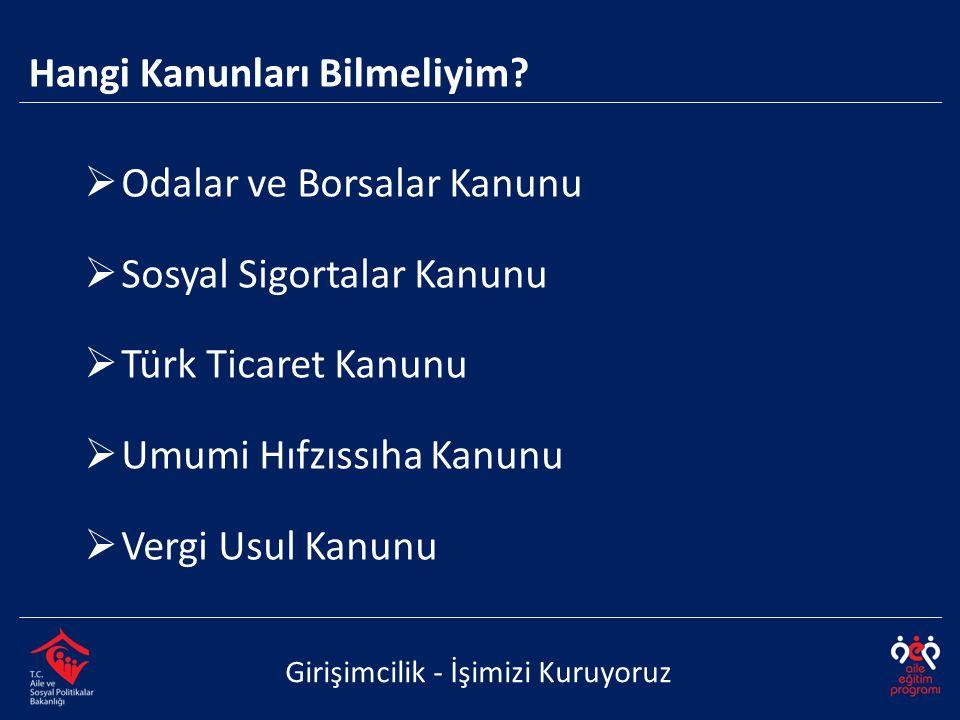  Odalar ve Borsalar Kanunu  Sosyal Sigortalar Kanunu  Türk Ticaret Kanunu  Umumi Hıfzıssıha Kanunu  Vergi Usul Kanunu Girişimcilik - İşimizi Kuruyoruz Hangi Kanunları Bilmeliyim