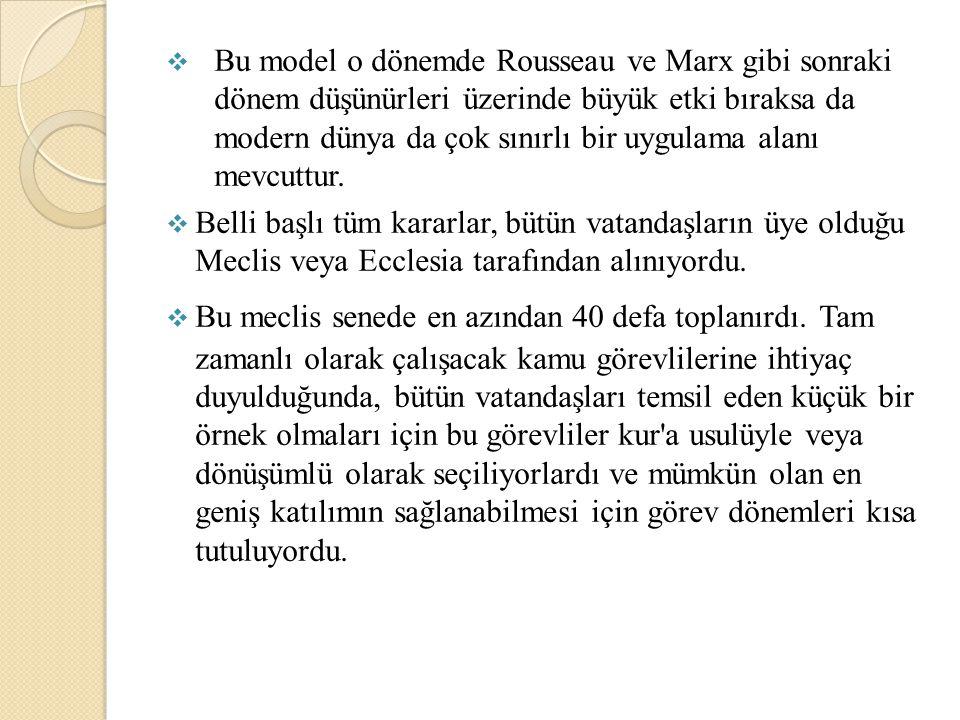 Bu model o dönemde Rousseau ve Marx gibi sonraki dönem düşünürleri üzerinde büyük etki bıraksa da modern dünya da çok sınırlı bir uygulama alanı mev