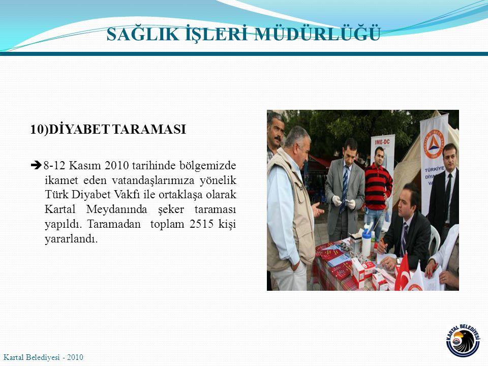 10)DİYABET TARAMASI  8-12 Kasım 2010 tarihinde bölgemizde ikamet eden vatandaşlarımıza yönelik Türk Diyabet Vakfı ile ortaklaşa olarak Kartal Meydanında şeker taraması yapıldı.
