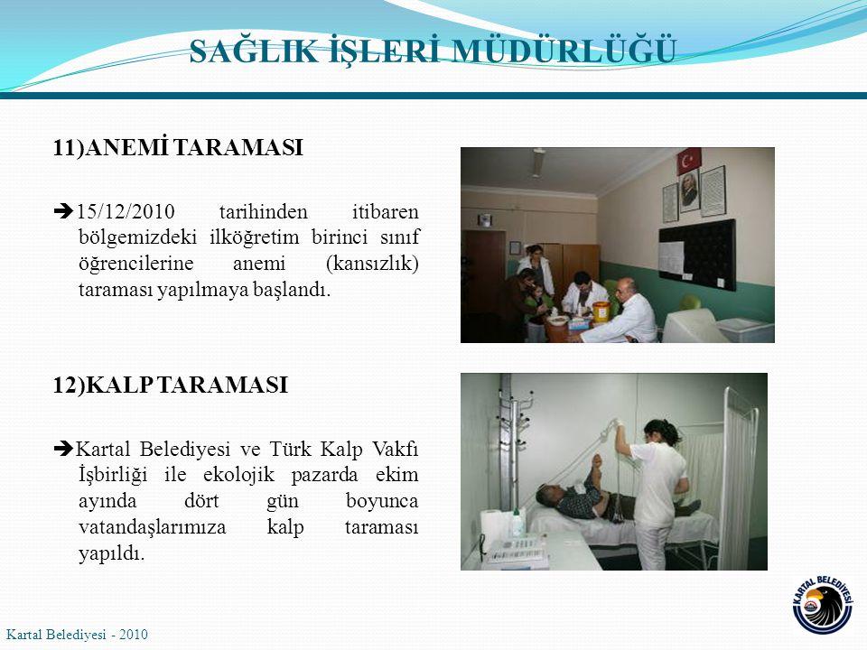 11)ANEMİ TARAMASI  15/12/2010 tarihinden itibaren bölgemizdeki ilköğretim birinci sınıf öğrencilerine anemi (kansızlık) taraması yapılmaya başlandı.