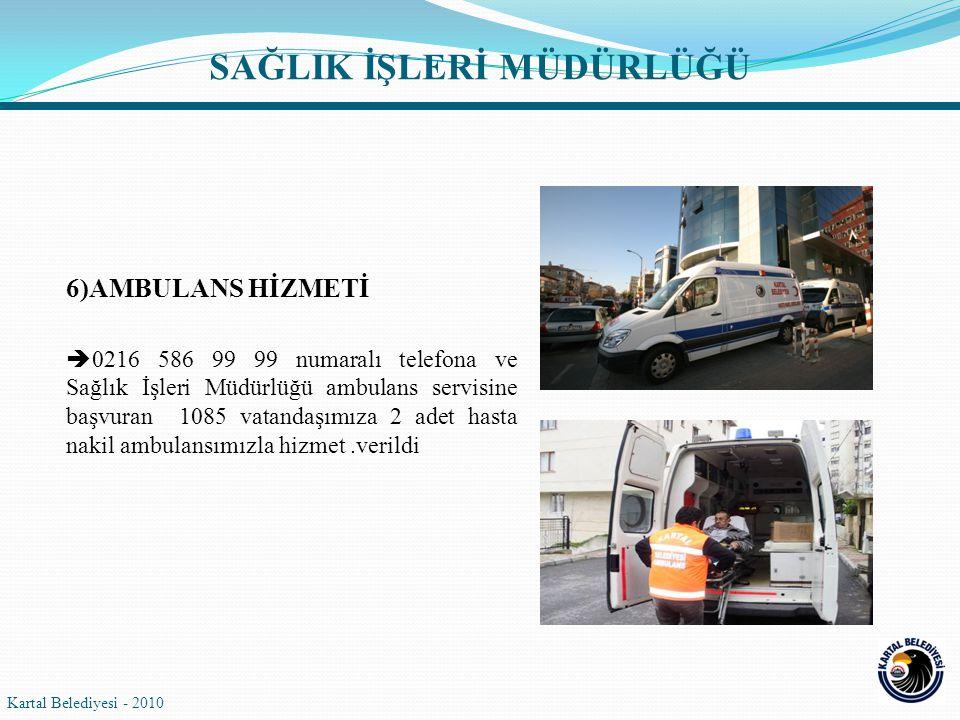 6)AMBULANS HİZMETİ  0216 586 99 99 numaralı telefona ve Sağlık İşleri Müdürlüğü ambulans servisine başvuran 1085 vatandaşımıza 2 adet hasta nakil ambulansımızla hizmet.verildi Kartal Belediyesi - 2010 SAĞLIK İŞLERİ MÜDÜRLÜĞÜ