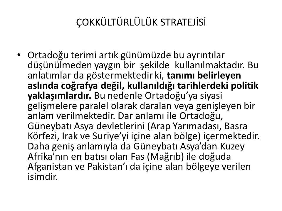 ÇOKÜLTÜRLÜLÜK STRATEJİSİ Türkiye hangi bölgede yer almaktadır.