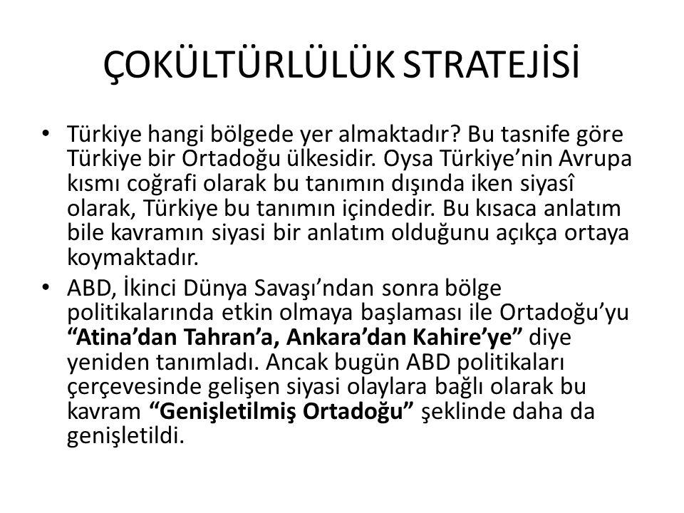 ÇOKÜLTÜRLÜLÜK STRATEJİSİ Türkiye hangi bölgede yer almaktadır? Bu tasnife göre Türkiye bir Ortadoğu ülkesidir. Oysa Türkiye'nin Avrupa kısmı coğrafi o