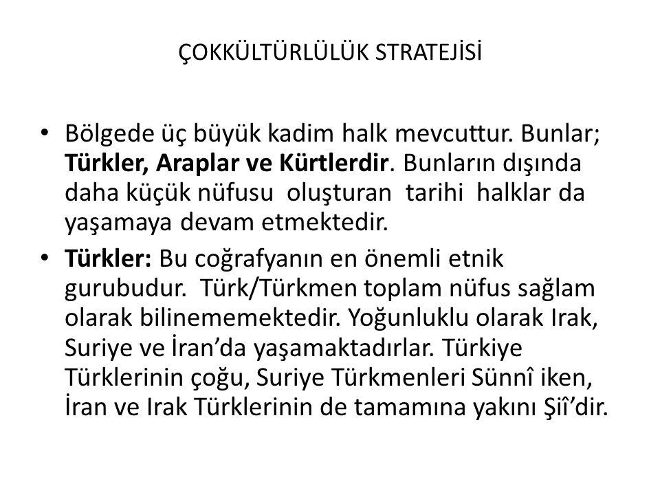 ÇOKKÜLTÜRLÜLÜK STRATEJİSİ Bölgede üç büyük kadim halk mevcuttur. Bunlar; Türkler, Araplar ve Kürtlerdir. Bunların dışında daha küçük nüfusu oluşturan