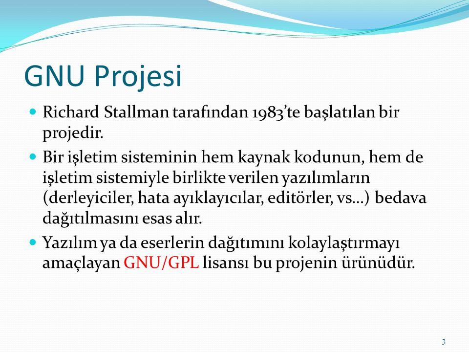 GNU: GNU is Not UNIX Başlangıçta GNU HURD adında bir işletim sistemini de kapsayan bu proje Linux'un hızla gelişmesi ile Linux çekirdeği kullanan bir proje halini aldı.