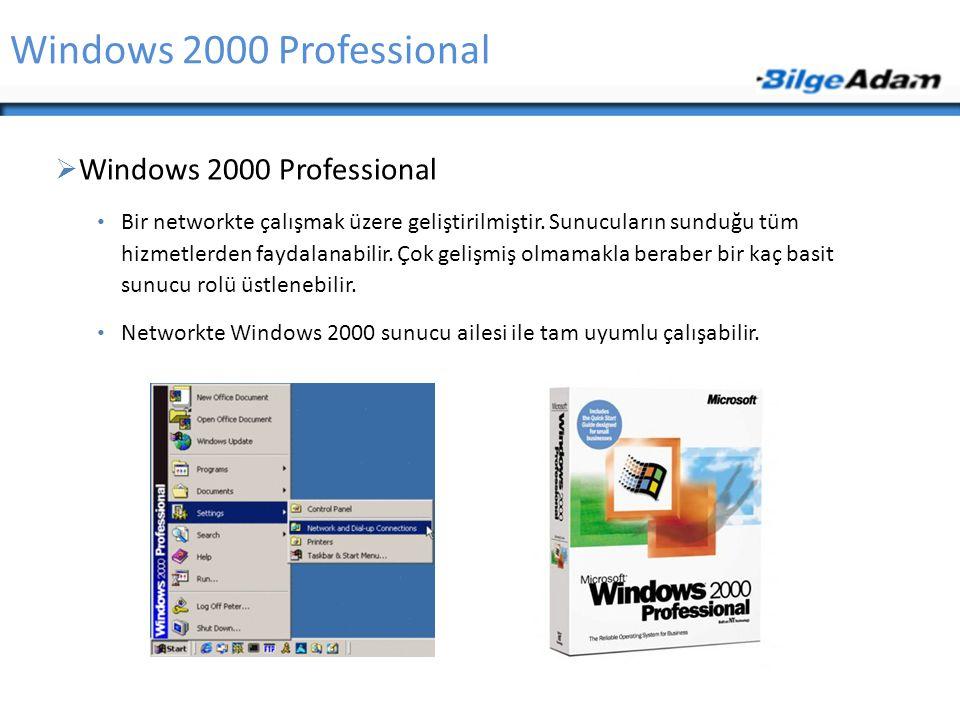 Windows 2000 Professional  Windows 2000 Professional Bir networkte çalışmak üzere geliştirilmiştir. Sunucuların sunduğu tüm hizmetlerden faydalanabil