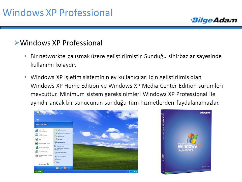 Windows XP Professional  Windows XP Professional Bir networkte çalışmak üzere geliştirilmiştir. Sunduğu sihirbazlar sayesinde kullanımı kolaydır. Win