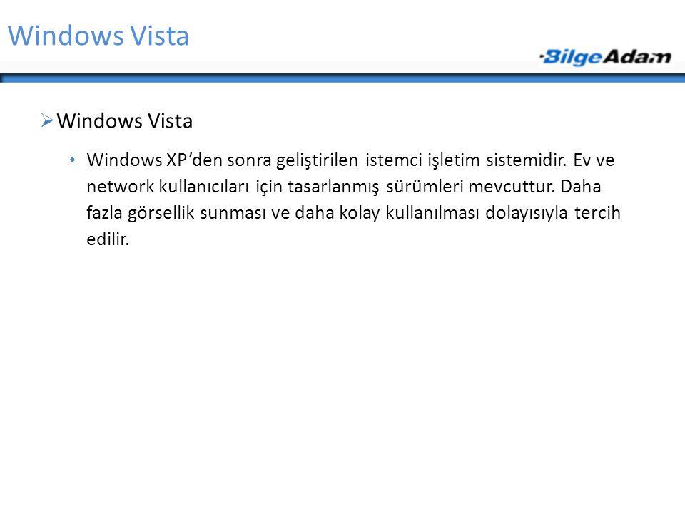 Windows Vista  Windows Vista Windows XP'den sonra geliştirilen istemci işletim sistemidir. Ev ve network kullanıcıları için tasarlanmış sürümleri mev