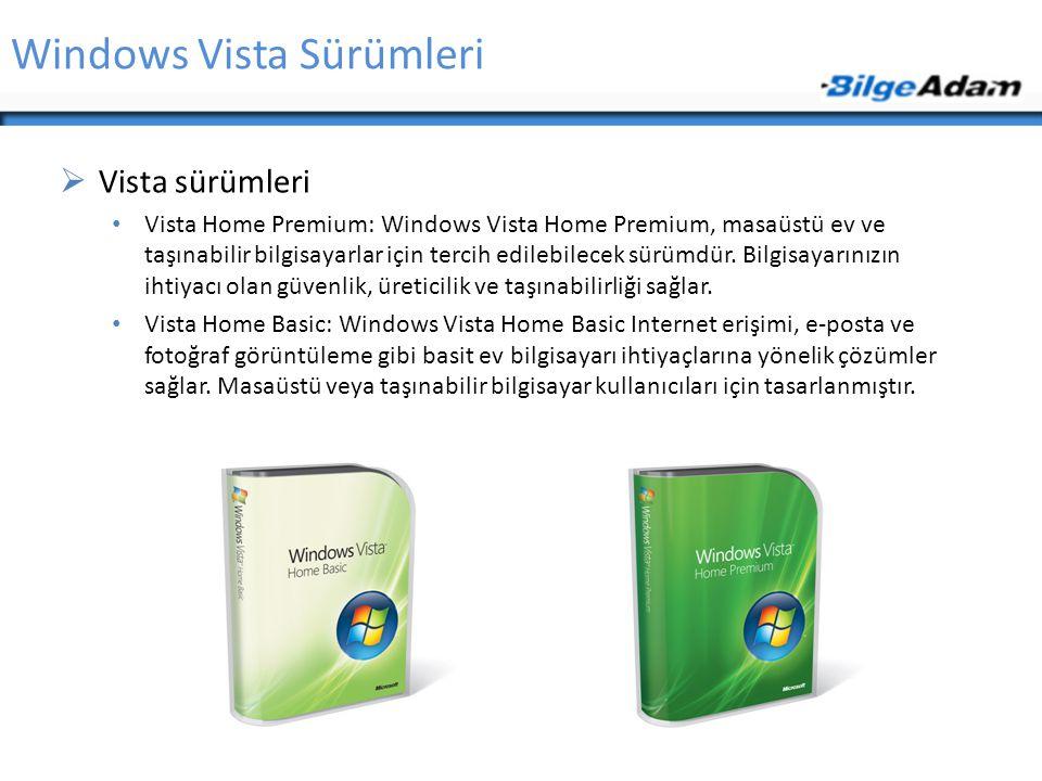 Windows Vista Sürümleri  Vista sürümleri Vista Home Premium: Windows Vista Home Premium, masaüstü ev ve taşınabilir bilgisayarlar için tercih edilebilecek sürümdür.