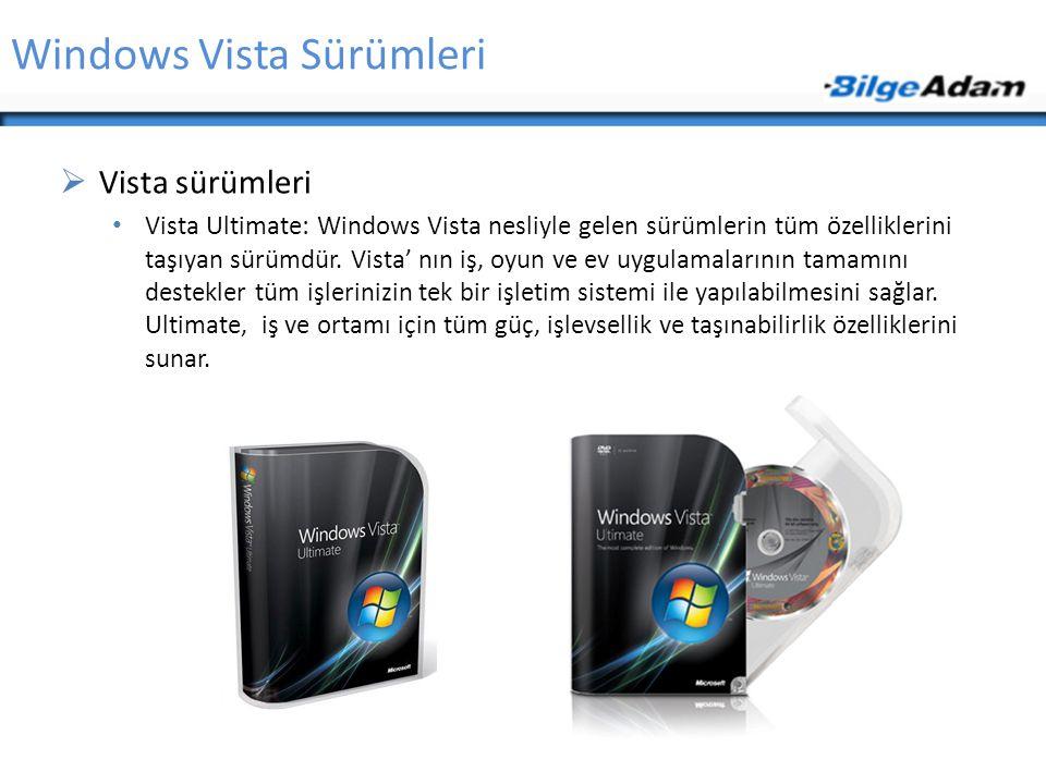 Windows Vista Sürümleri  Vista sürümleri Vista Ultimate: Windows Vista nesliyle gelen sürümlerin tüm özelliklerini taşıyan sürümdür. Vista' nın iş, o