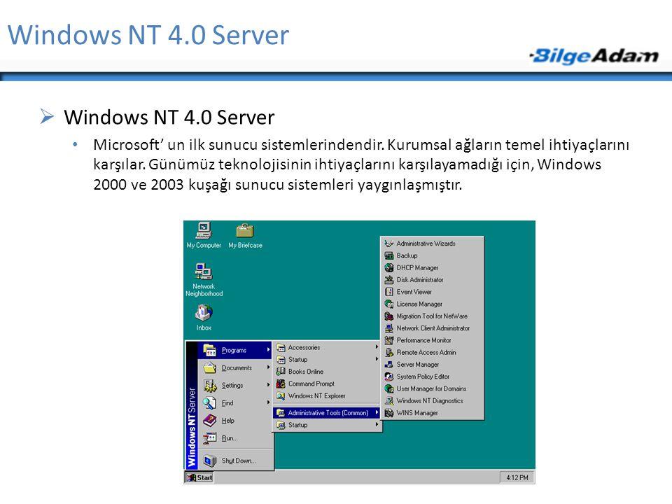 Windows NT 4.0 Server  Windows NT 4.0 Server Microsoft' un ilk sunucu sistemlerindendir. Kurumsal ağların temel ihtiyaçlarını karşılar. Günümüz tekno