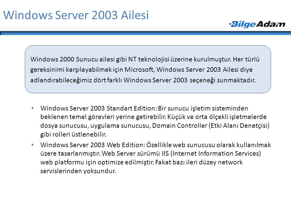 Windows Server 2003 Ailesi Windows Server 2003 Standart Edition: Bir sunucu işletim sisteminden beklenen temel görevleri yerine getirebilir. Küçük ve