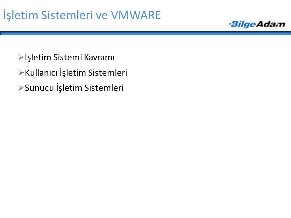 İşletim Sistemleri ve VMWARE  İşletim Sistemi Kavramı  Kullanıcı İşletim Sistemleri  Sunucu İşletim Sistemleri