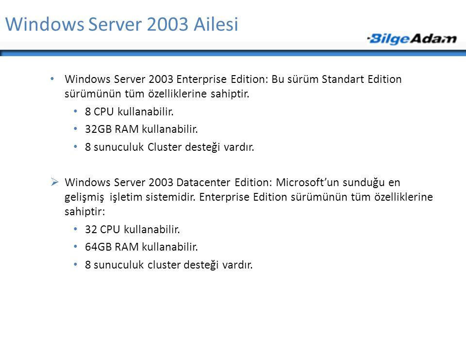 Windows Server 2003 Ailesi Windows Server 2003 Enterprise Edition: Bu sürüm Standart Edition sürümünün tüm özelliklerine sahiptir. 8 CPU kullanabilir.