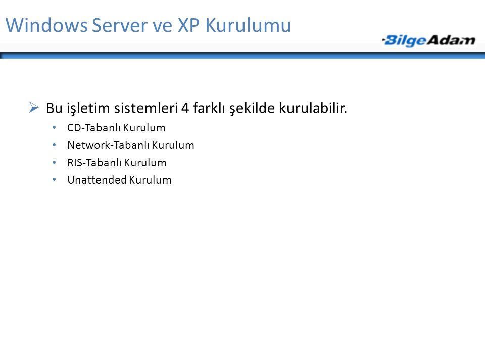 Windows Server ve XP Kurulumu  Bu işletim sistemleri 4 farklı şekilde kurulabilir. CD-Tabanlı Kurulum Network-Tabanlı Kurulum RIS-Tabanlı Kurulum Una