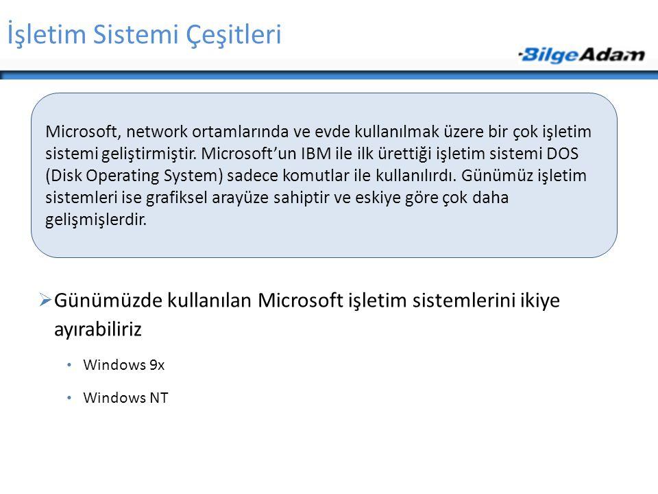 Microsoft, network ortamlarında ve evde kullanılmak üzere bir çok işletim sistemi geliştirmiştir.